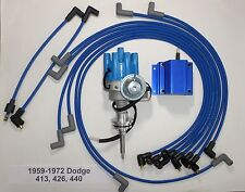 DODGE 440 1959-72 BLUE Small Female Cap HEI Distributor,Coil, Spark Plug Wires