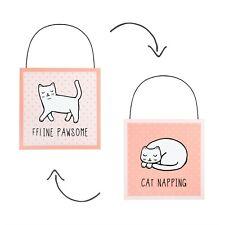 Door Plaque Sign Cutie Cat Reversible Pink Nursery Bedroom Decoration Kids Room