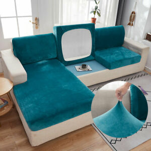 1/2/3 Seaters Velvet Stretch Sofa Seat Couch Cover Slipcover Elastic Protector