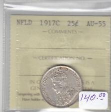 1917C NEWFOUNDLAND 25 CENT COIN ICCS AU-55