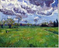 Stretched Canvas - Landscape Stormy Sky Painting Vincent van Gogh Reproduction