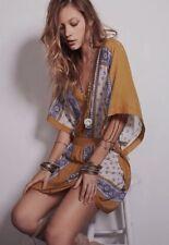 Free People Tunic Dress Santa Cruz Chiffon Goldenrod Combo Sheer Boho M Nwt Flaw