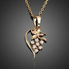 Fashion Crystal Floral Heart Necklace Chic 18k Gold Plated Chain Pendant Jewelry