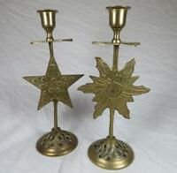 VTG Solid Cast Brass Candlesticks Celestial Sun and Star Made India Holder