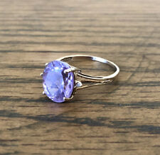10ct Gold Ring Amethyst And Diamond Size L 1/2