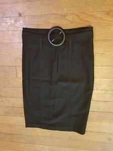Twenty One Women Black Stretch Pencil Skirt Business Casual Large Belt Size Med