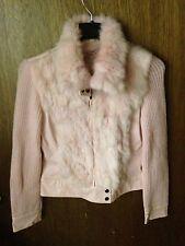 Jennyfer J PINK Rabbit Fur Sweater Jacket Women's MEDIUM Faux Leather Trim