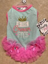 """New listing Simply Wag Aqua-Pink """"If The Crown Fits"""" Tutu Dress Puppy/Dog -small"""
