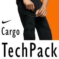 MEN NIKE NSW TECH PACK WOVEN CARGO PANTS GRID TROUSERS WATER RESIST BLACK M L XL