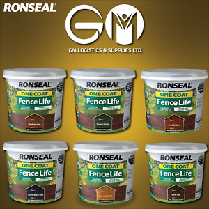 Ronseal 5L One Coat Life Quick Dry Garden Shed & Fence Paint All Colours