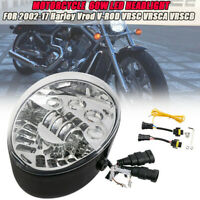 Chrom Motorrad LED Oval Scheinwerfer Für Harley VRSC V-rod 02-17