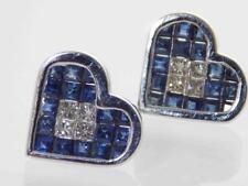 14K GOLD PRINCESS CUT DIAMOND & NATURAL CEYLON SAPPHIRE EARRINGS 10mm x 11mm