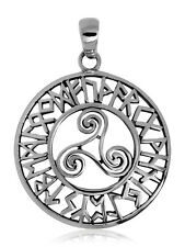 925 solid Sterling Silver openwork Triple Spiral Triskele with Runes pendant