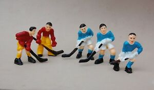 """Hockey Player Cake Topper Figures Lot 5 Blue & Red Team Vintage Plastic Toy 2"""""""