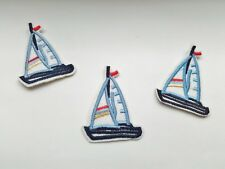 "4 Sailboat Iron On Patches Appliques 4.5cm (1 3/4"") Yacht Patch Boys Clothing"