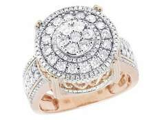 Men's 10K Rose Gold Genuine Diamond 3D Round Pinky Statement Ring 1 3/5 CT 18MM