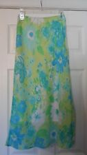 Pierre Cardin Skirt MODEST Petite Lime Green and Turquoise Floral Skirt Sz: 2P