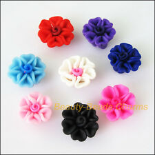 6Pcs Mixed Polymer Fimo Clay Heart Flower Spacer Beads Charms 15mm