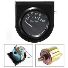 2'' 52mm Universal Car Auto Pointer Oil Pressure Press Gauge 0-100PSI White LED