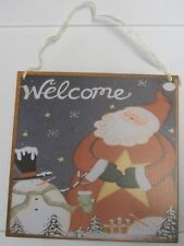 Welcome Metal Hanging Sign with Santa Clause