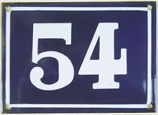 Larger old blue French house number 54 door gate plate plaque enamel metal sign