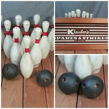 Vintage Antique Bowling Game Klaubers Spares & Strikes Wood Balls 10 Pins Rare!