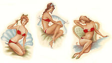 Ceramic Decals Vintage Pinup Pin Up Girls 2.75 inch