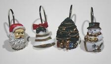 "Carnation Home Fashions ""Christmas Time"" Set 12 Shower Curtain Hooks Handpainted"