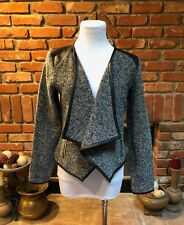 Vintage CHIC Black & Gray Tweed Open Front Layering Blazer  Hi Low Jacket Top S