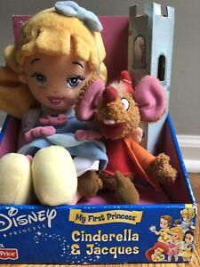 Rare NEW Fisher Price Disney Princess Cinderella Jacques Plush Doll 2002 Mattel