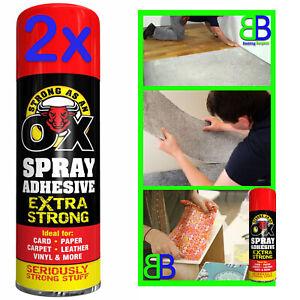 2x Spray Adhesive Glue for Card Paper Foam Carpet Leather Art Craft Fabric 500ml