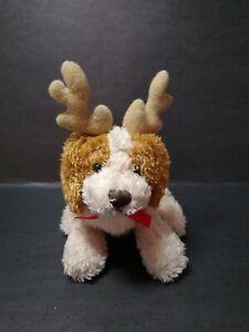 """2000 Ganz Christmas Soft Spots 5"""" Plush Dog Antlers HX4029 Small Stuffed Animal"""