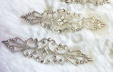DIY Silver Filigree Lace Extension Chandelier Earrings Necklace Parts 4 Findings