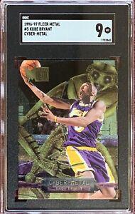 1996-97 Fleer Metal KOBE BRYANT Rookie Cyber Metal Insert #5 RC SGC 9 Mint HOF🔥