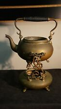 "Vintage Antique Brass Tea Pot Kettle With Warmer Burner Stand No Lid 9"" High"