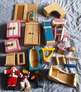 Toy Wooden Dolls House Furniture & People Bundle.