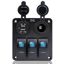 12V/24V 3 Gang LED Rocker Switch Panel USB 3.1A Car Marine Boat Circuit Breaker