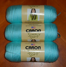 Caron Simply Soft Yarn Lot Of 3 Skeins (Robin's Egg #9780) 6 oz.