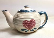 New ListingHeritage Pottery Small Blue Spongeware Teapot Cream with Pink Heart