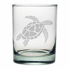Sea Turtle Double Old Fashioned Glasses Set of 4 Cocktail Glasses Birthday Gift