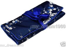 BLUE SILK JEWELRY TRAVEL BAG Brocade Fabric Organizer Roll Pouch Carrying Case