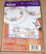 "Bucilla Butterfly & Roses ""Garden Trellis"" Stamped Dresser Scarf & Doily Set NIP"