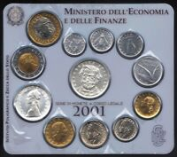 ITALY 2001 MINT SET (CHOICE UNC) *12 COINS INCLUDING 2 SILVER*