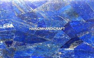 3'x2' Marble Console Table Top Random Lapis Lazuli Inlay Arts Home Decor M366