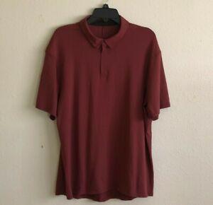 Lululemon Mens Golf Polo Shirt Metal Vent Tech 1/4 ZIP Maroon Size XL