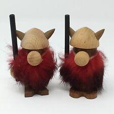 2 1960's Denmark Viking Rabbit Fur Vintage Red Beard With Staff & Helmet Troll