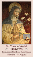 St. Clare of Assisi Prayer Card, 10 Pack