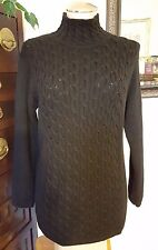 CLASSIQUES PETITES 100% Wool Black Thick Cable Mock Turtleneck Tunic Sweater PXS