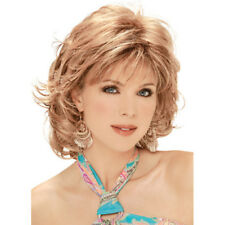 Heat Resistant Short Fluffy Curly Hairstyle Mix Blonde Free Part Wig for Women