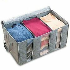 Foldable Fabric Storage Organizer Bag 3 Sectional 24x14x11in (Pack of 2, Gray)
